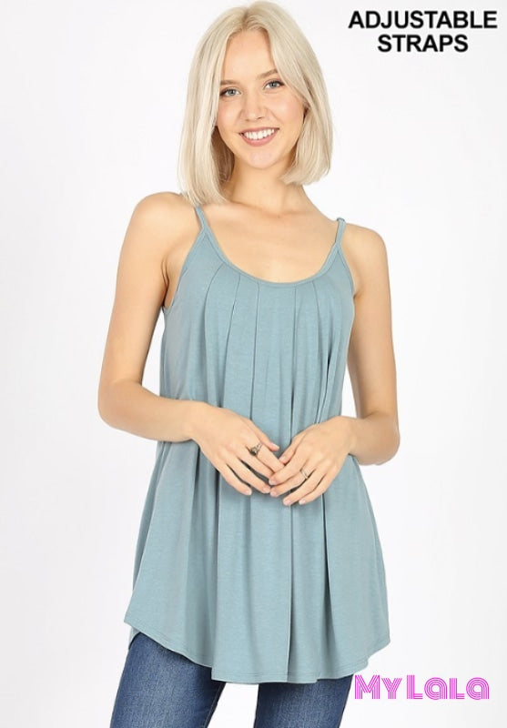 Curvy Priscila Pleated Cami (Blue Grey)