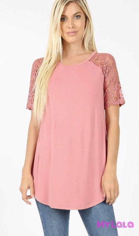 Curvy Sarah Shoulder Lace (Ash Rose)