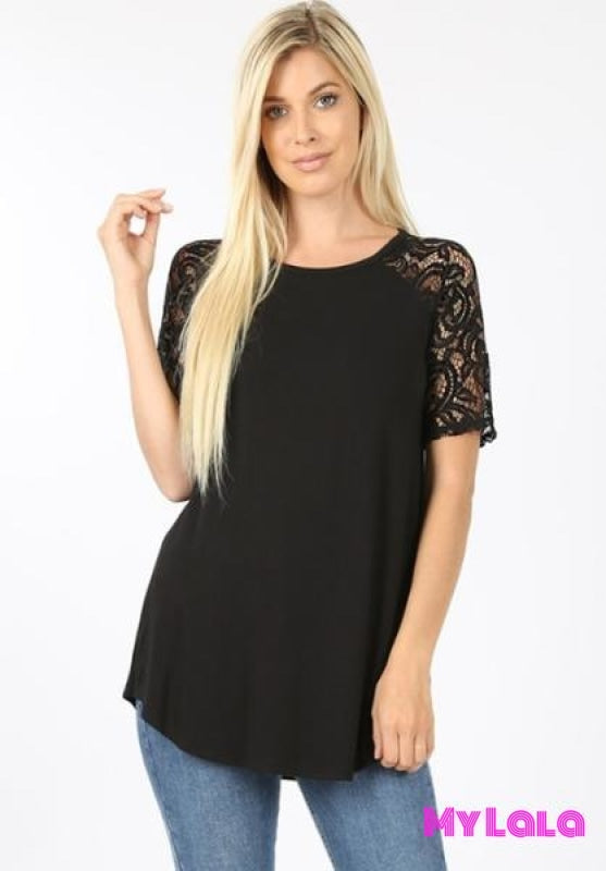 Curvy Sarah Shoulder Lace (Black)