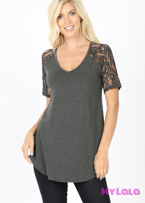 Curvy Sarah Shoulder Lace (Charcoal)
