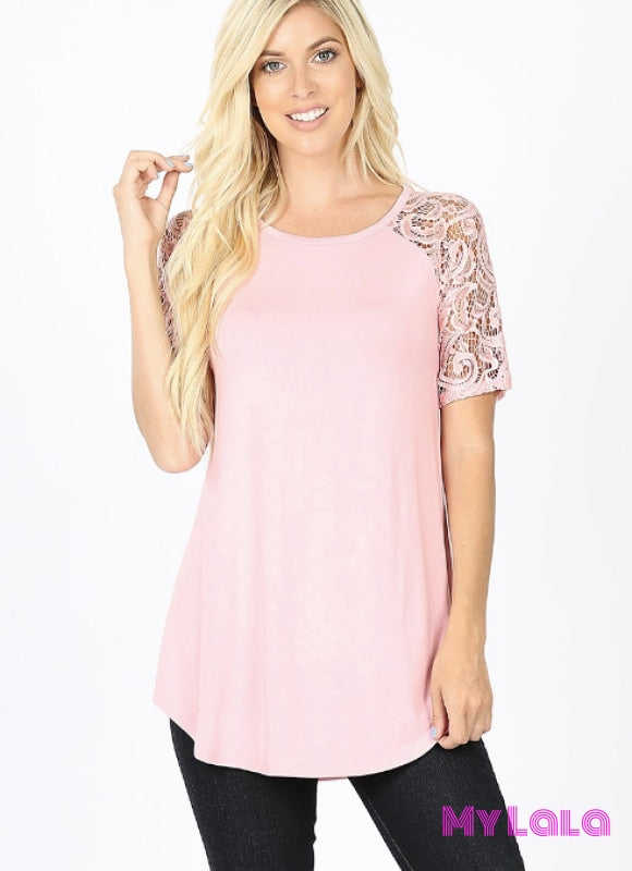 Curvy Sarah Shoulder Lace (Dusty Pink)