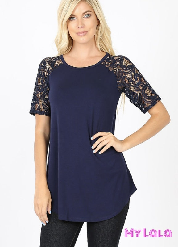 Curvy Sarah Shoulder Lace (Navy)
