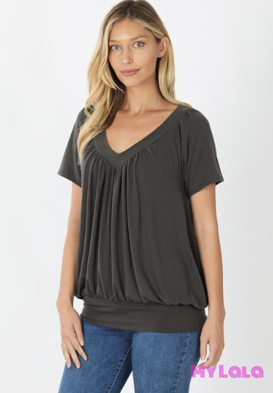 Curvy Shirley Shirred Short Sleeve (Ash Grey)