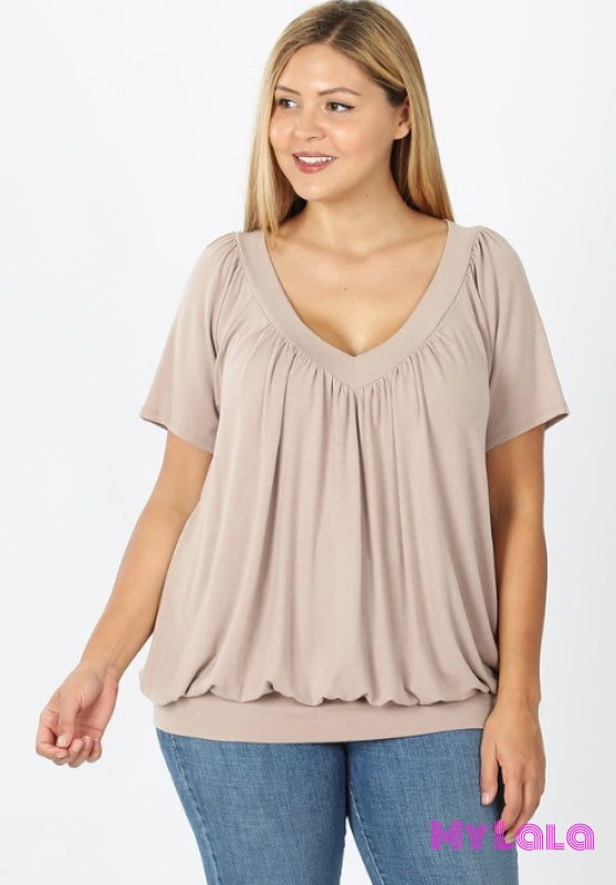 Curvy Shirley Shirred Short Sleeve (Ash Mocha)