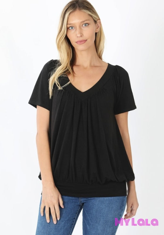 Curvy Shirley Shirred Short Sleeve (Black)