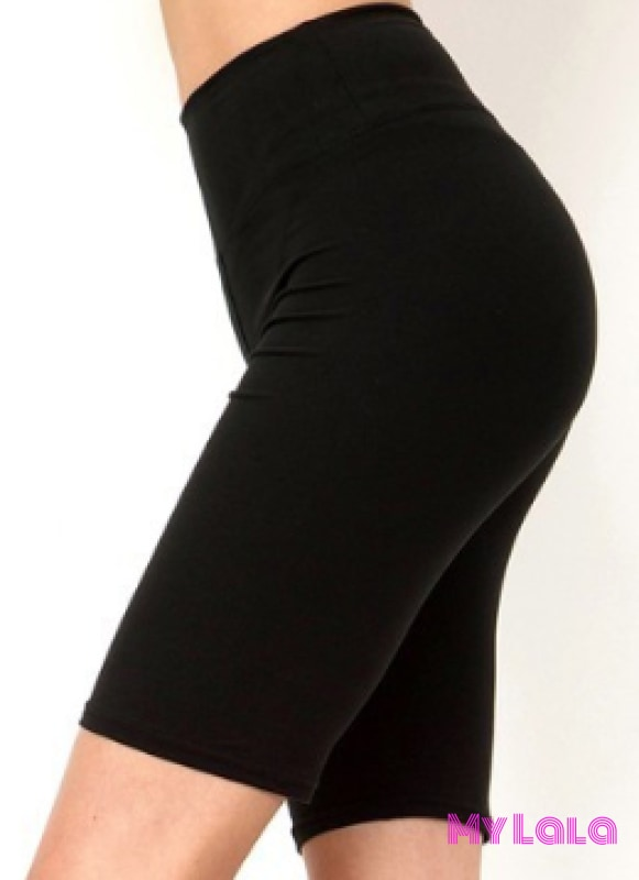 Curvy Solid Black Bike Shorts