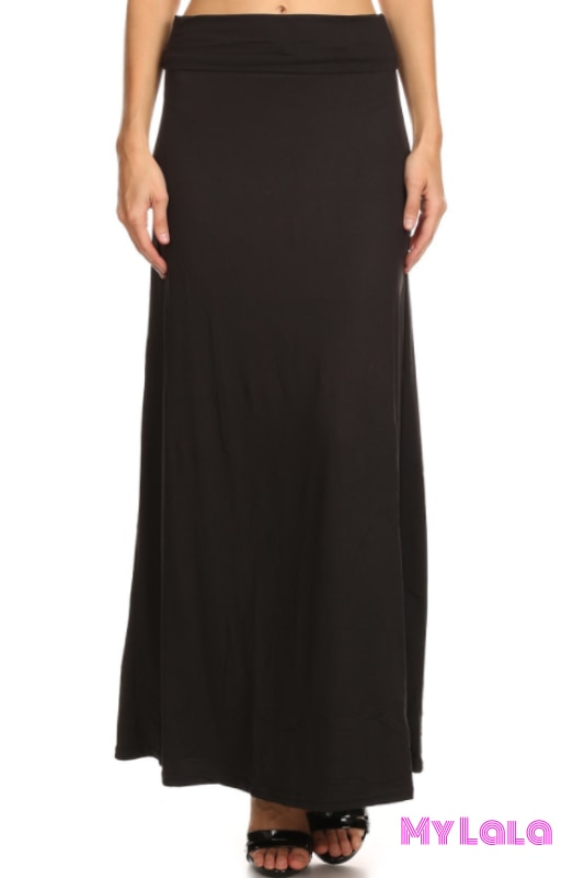 Curvy Solid Black Maxi