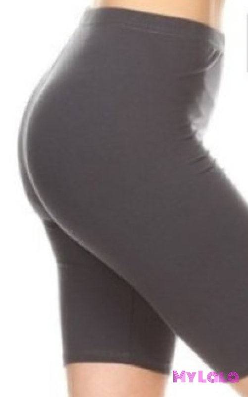 Curvy Solid Lt Grey Bike Shorts
