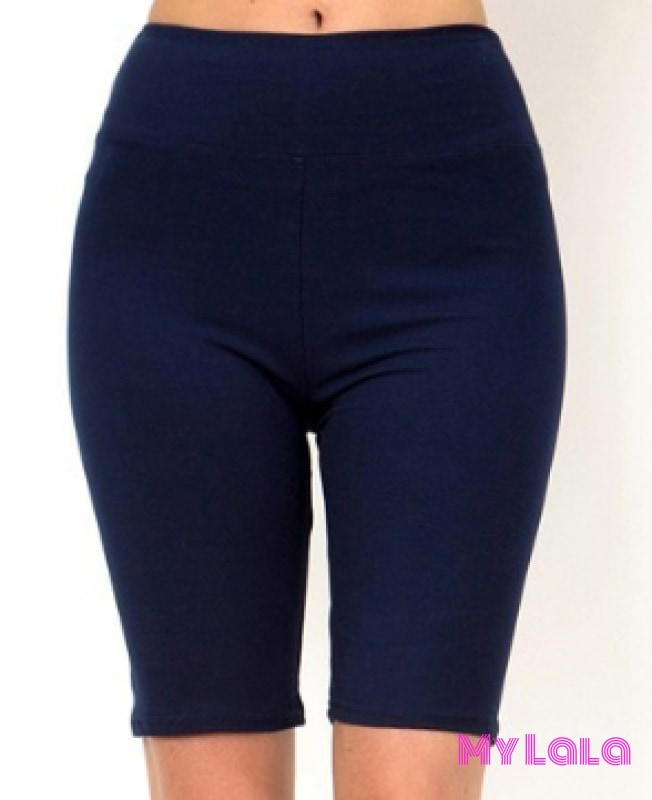 Curvy Solid Navy Bike Shorts