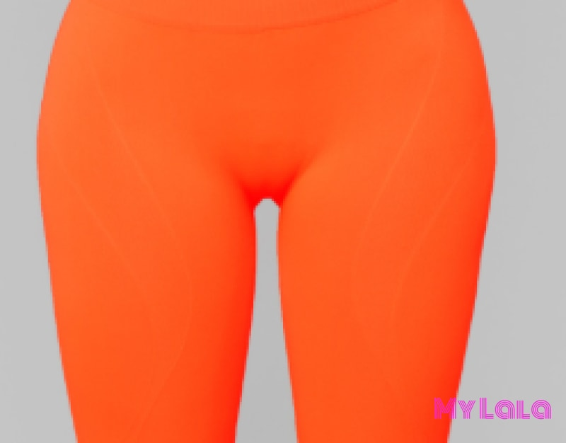 Curvy Solid Neon Orange Bike Shorts