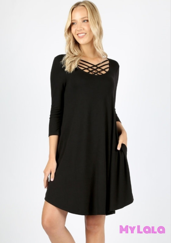 Dress 3/4 Houston Lattice (Black)