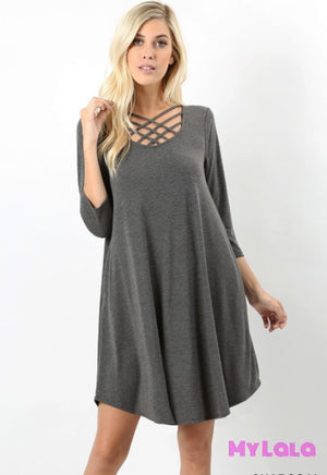 Dress 3/4 Houston Lattice (Charcoal)