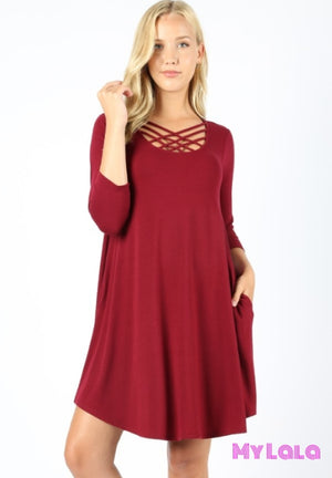 Dress 3/4 Houston Lattice (Dk Burgundy)