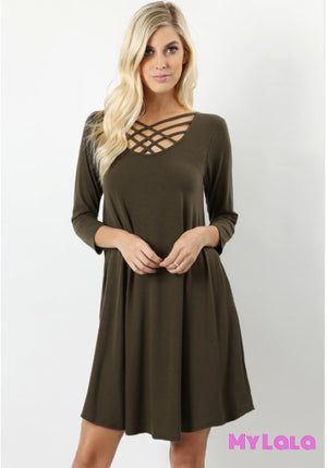 Dress 3/4 Houston Lattice (Dk Olive)