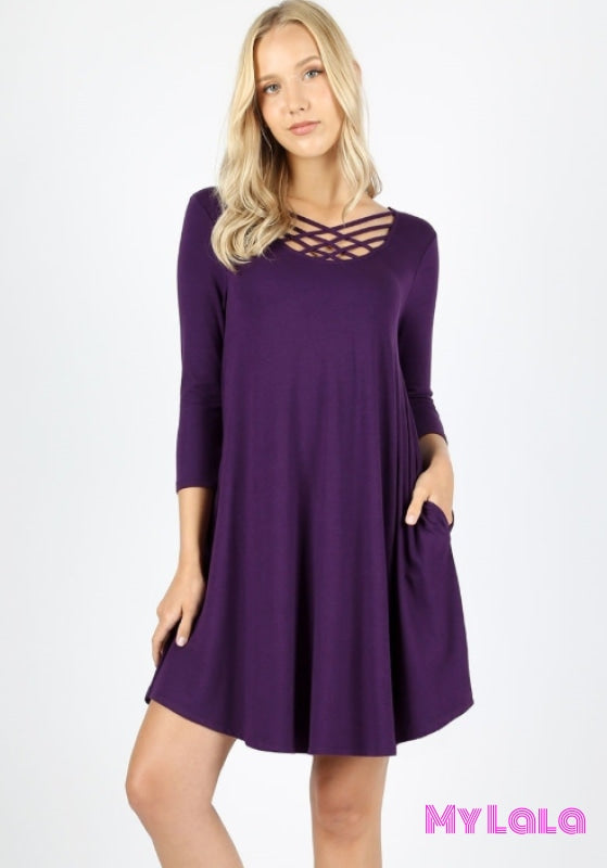 DRESS 3/4 Houston Lattice (Dk Purple) - My Lala Leggings, soft leggings, buttery soft leggings, one size leggings