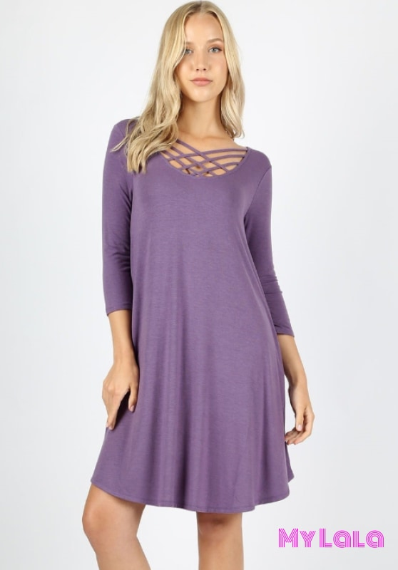 DRESS 3/4 Houston Lattice (Lilac Grey) - My Lala Leggings, soft leggings, buttery soft leggings, one size leggings