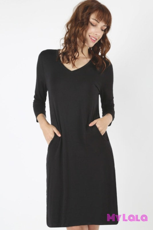 Dress Austin 3/4 V Neck (Black)