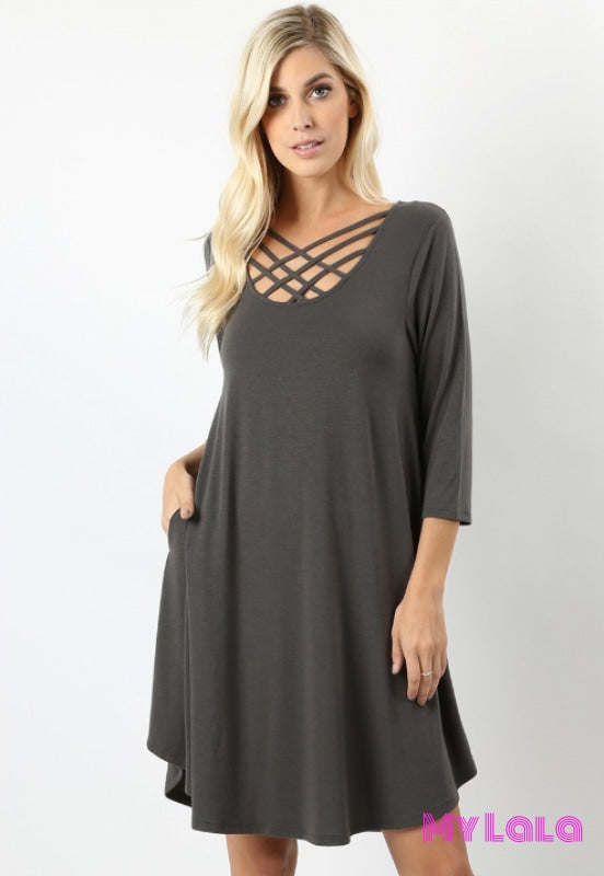 Dress Curvy 3/4 Houston Lattice (Ash Grey)