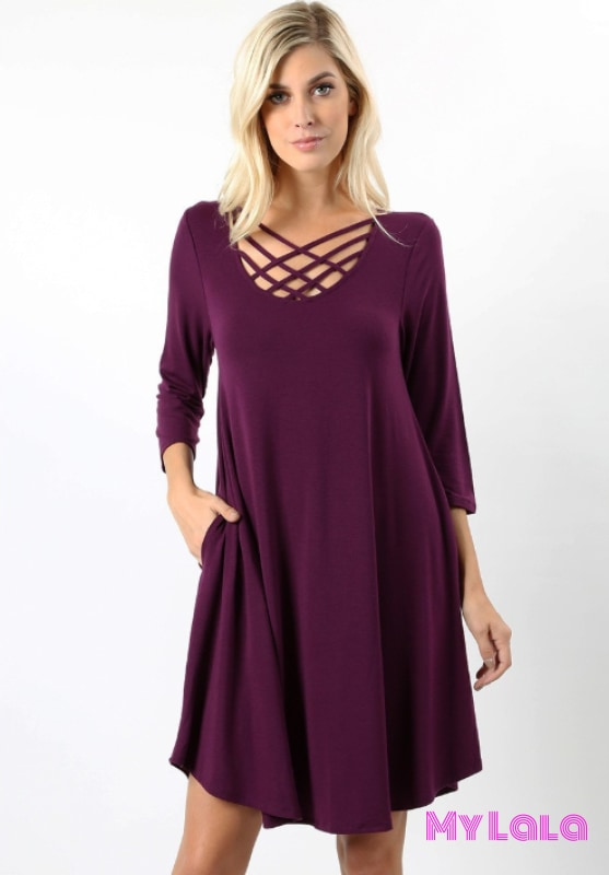 DRESS Curvy 3/4 Houston Lattice (Dk Plum) - My Lala Leggings, soft leggings, buttery soft leggings, one size leggings