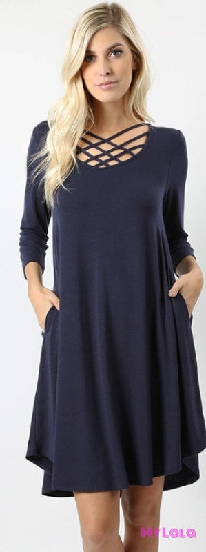 Dress Curvy 3/4 Houston Lattice (Navy)