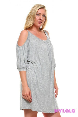 Dress Curvy Ocean City Open Sleeve (H Gray) - My Lala Leggings, soft leggings, buttery soft leggings, one size leggings
