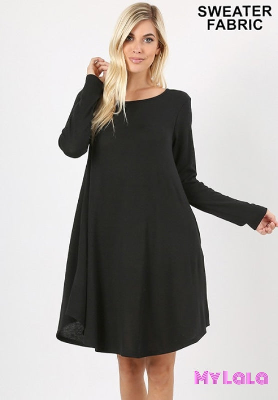 DRESS Curvy Rochester Sweater Dress (Black) - My Lala Leggings, soft leggings, buttery soft leggings, one size leggings