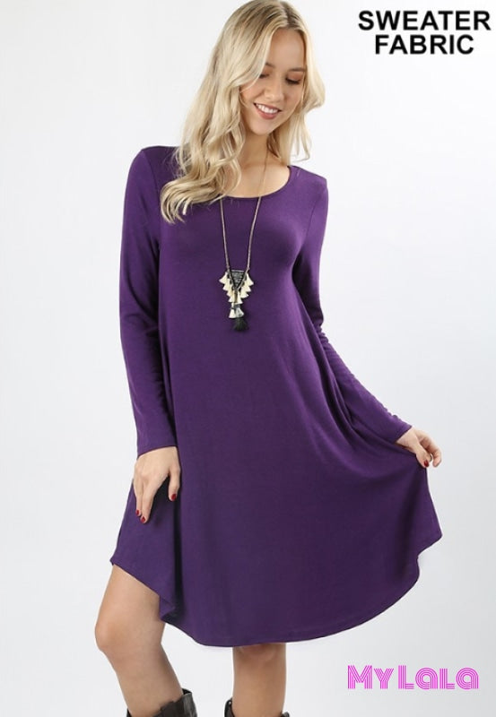 DRESS Curvy Rochester Sweater Dress (Dk Purple) - My Lala Leggings, soft leggings, buttery soft leggings, one size leggings
