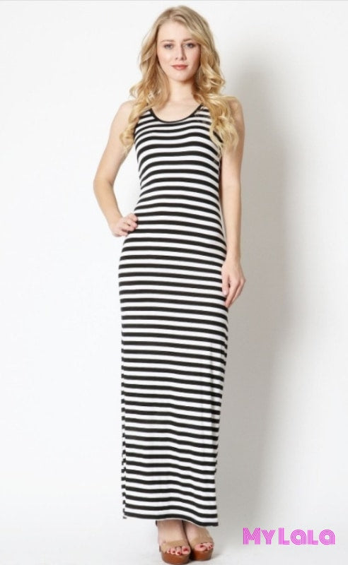 Dress Venice Black/white Striped Maxi
