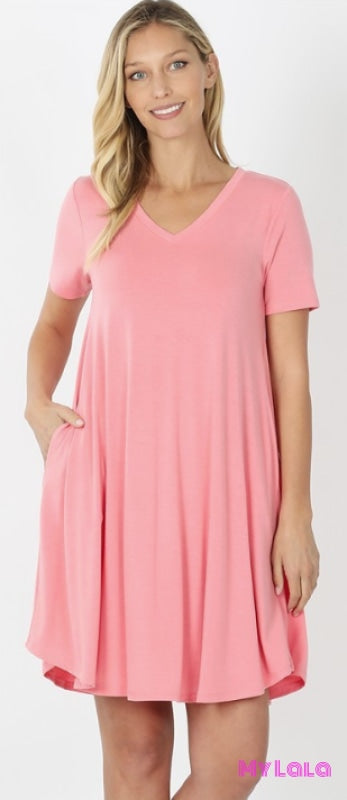 DRESS Venice V-Neck (Rose Pink) - My Lala Leggings