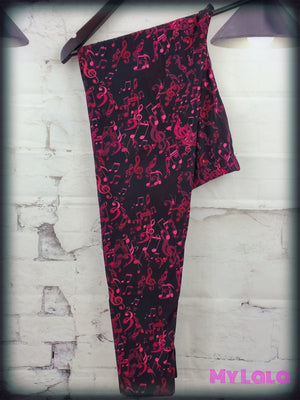 Extra Curvy Burgundy Music (24-32) - My Lala Leggings, soft leggings, buttery soft leggings, one size leggings