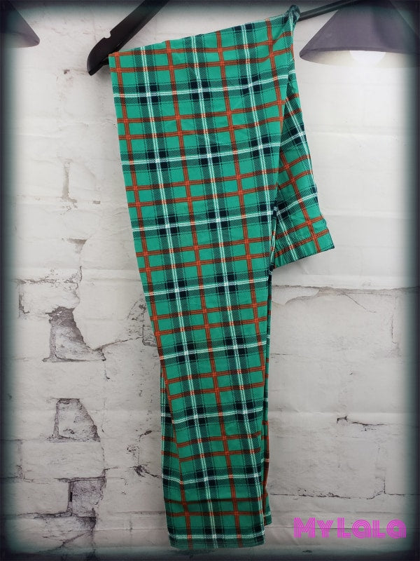 Extra Curvy Green Plaid (20-26) - My Lala Leggings, soft leggings, buttery soft leggings, one size leggings
