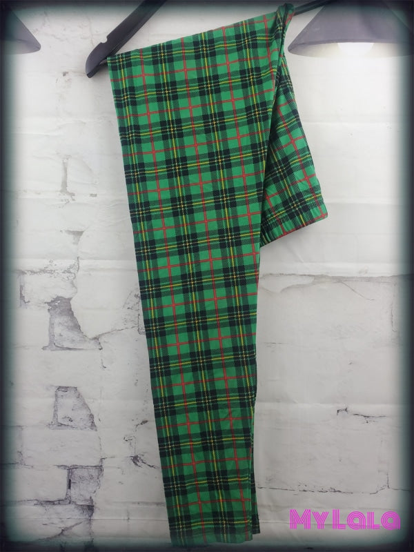 Extra Curvy Green Plaid (24-32) - My Lala Leggings, soft leggings, buttery soft leggings, one size leggings