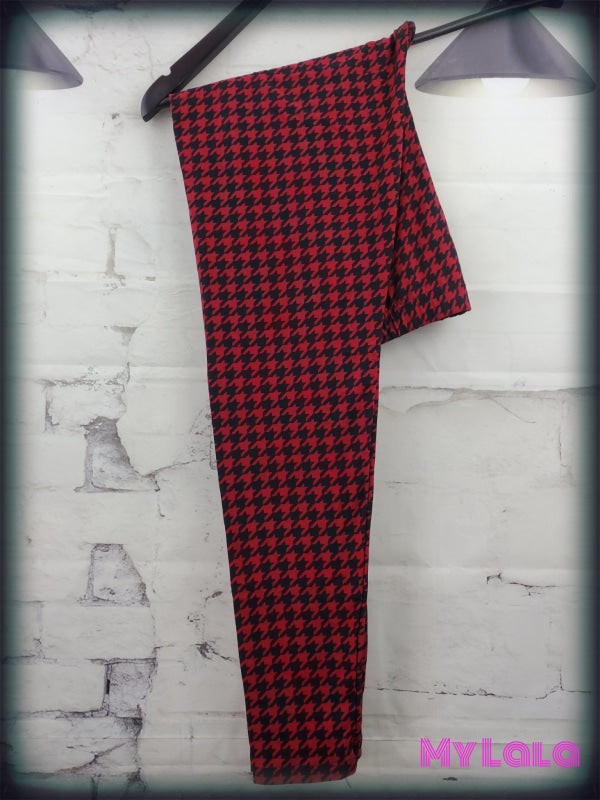 Extra Curvy Maroon Houndstooth (24-32) - My Lala Leggings, soft leggings, buttery soft leggings, one size leggings
