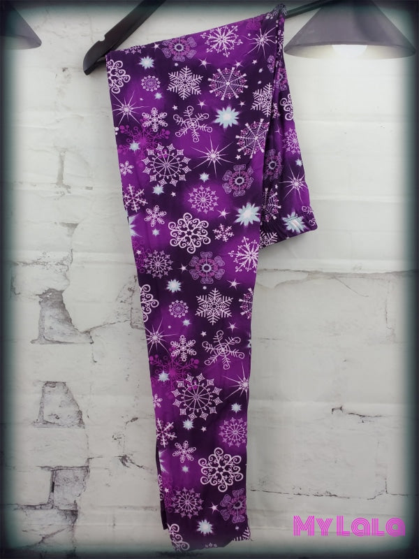 Extra Curvy Purple Snowflake (24-32) - My Lala Leggings, soft leggings, buttery soft leggings, one size leggings