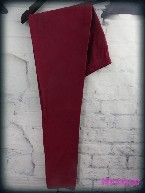 Extra Curvy Solid Burgundy (24-32) - My Lala Leggings, soft leggings, buttery soft leggings, one size leggings
