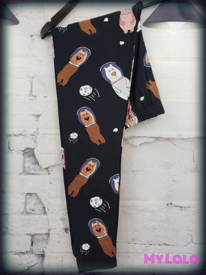 Extra Curvy Space Bears (24-32) - My Lala Leggings, soft leggings, buttery soft leggings, one size leggings