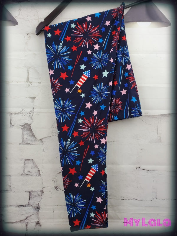 Extra Curvy Summer Fireworks (24-32) - My Lala Leggings, soft leggings, buttery soft leggings, one size leggings