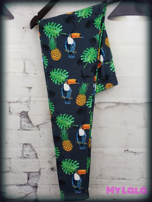 Extra Curvy Toucan Pineapple (20-26) - My Lala Leggings, soft leggings, buttery soft leggings, one size leggings