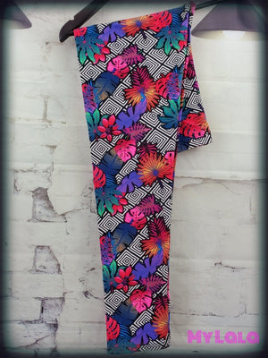 Extra Curvy Tropical Floral 20-26 - My Lala Leggings, soft leggings, buttery soft leggings, one size leggings