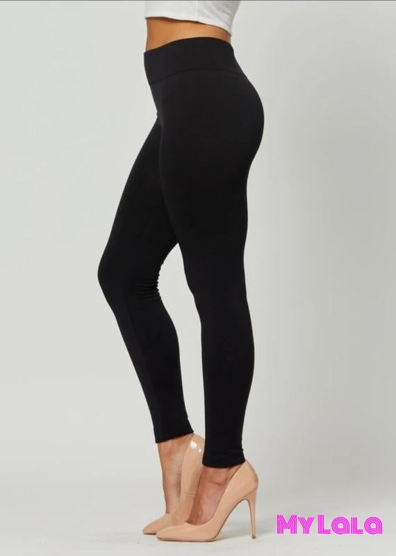 Fleece Lined - Solid Black - My Lala Leggings, soft leggings, buttery soft leggings, one size leggings