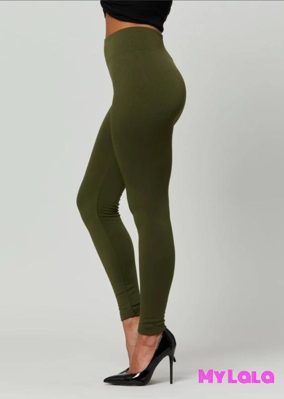 Fleece Lined - Solid Olive - My Lala Leggings, soft leggings, buttery soft leggings, one size leggings
