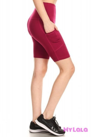 High Waisted Bike Shorts Activewear (Red Plum)