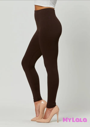 High Waisted Fleece Lined OS (Brown) - My Lala Leggings