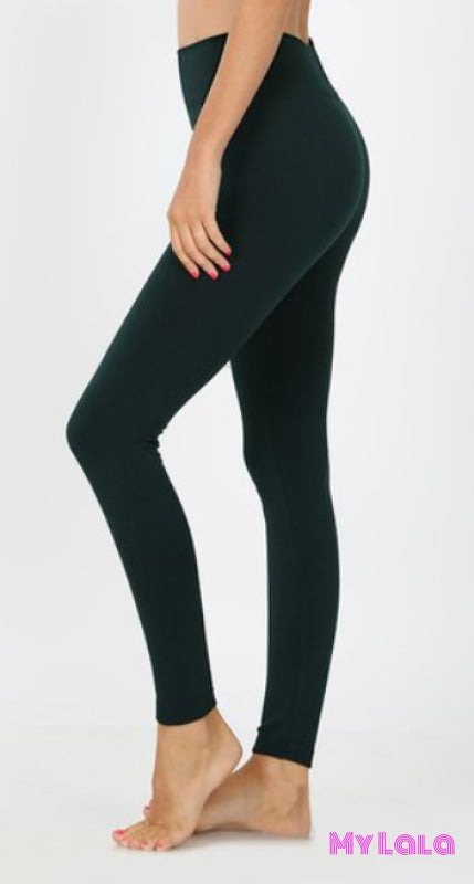 High Waisted Fleece Lined OS (Hunter Green) - My Lala Leggings, soft leggings, buttery soft leggings, one size leggings