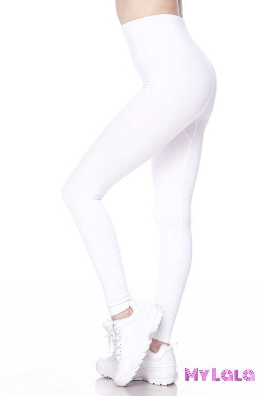 Curvy High Waisted Fleece Lined (White) - My Lala Leggings, soft leggings, buttery soft leggings, one size leggings