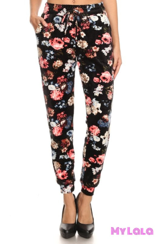 Jogger Velour - Flower Mix - My Lala Leggings, soft leggings, buttery soft leggings, one size leggings