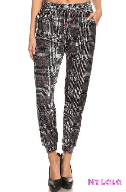 Jogger Velour - Houndstooth - My Lala Leggings, soft leggings, buttery soft leggings, one size leggings