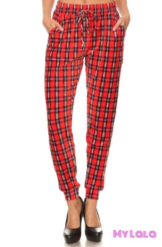 Jogger Velour - Plaid - My Lala Leggings, soft leggings, buttery soft leggings, one size leggings