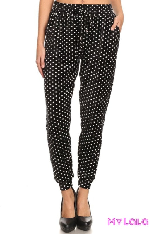 Jogger Velour - Polka Dot - My Lala Leggings, soft leggings, buttery soft leggings, one size leggings