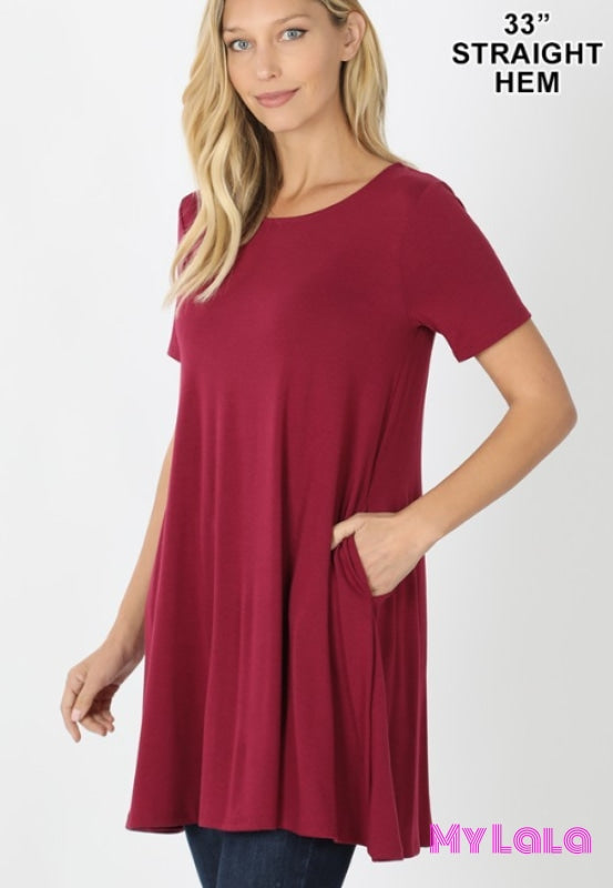 Lauren Longline Pocketed Tunic (Wine) - My Lala Leggings